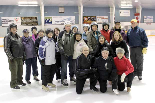 The 'Millbillies' get together to enjoy skating and exercise on Tuesday and Thursday mornings at the Millbrook Arena.  The group sometimes numbers as many as 40.  Bill Vanderpluym is at far left; Arlene Deck in front, centre of threesome kneeling.