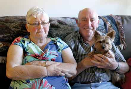 Betty and Joe Lunn with Chipper, at home at the Manor. Photo by Celia Hunter