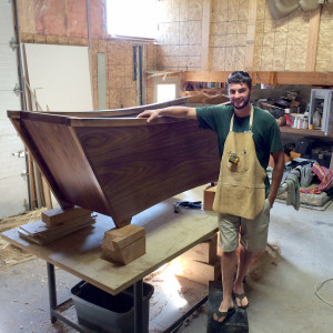 Tom Staples in his workshop with his latest project, a wooden bathtub. Photo: Karen Graham