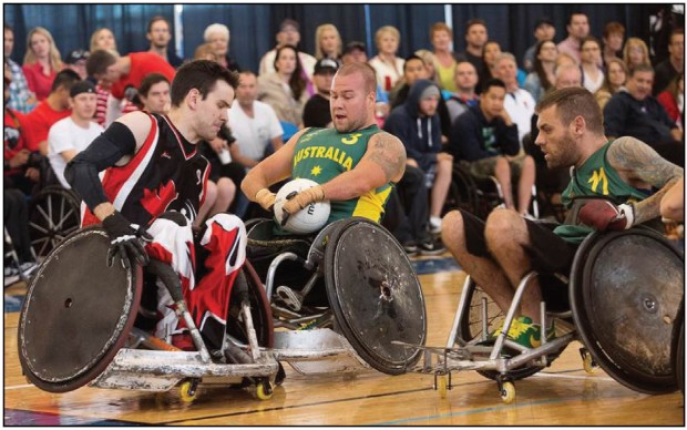 Cody Caldwell faces off against top ranking Australian team in Wheelchair Rugby match. Photo: Supplied.