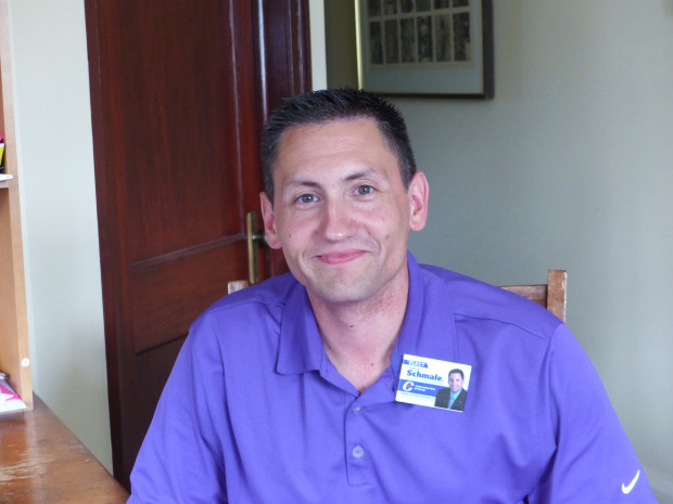 PC Candidate Jamie Schmale stopped in for a chat last week while canvassing voters in Millbrook. Photo: Karen Graham.