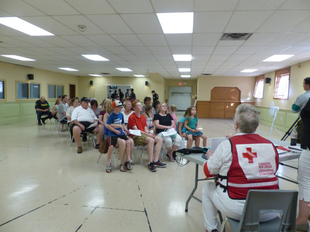 The Millbrook Arena was transformed into an Emergency Shelter last week in a mock evacuation exercise conductd by the Canadian Red Cross with the help of local police, fire fighters, service clubs and community volunteers to test their emergency evacuation plans. Photo: Karen Graham.
