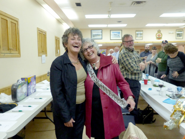 Bonnie McQuarrie of Bear Essentials is recognized by BIA President Nancy Fallis for her significant contributions to all things BIA. Photo: Karen Graham.