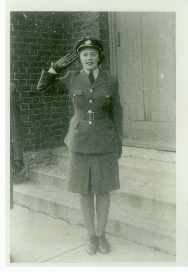 Vera on the steps of a building at CFB Borden in her last year of service in 1945. Photo: Supplied.