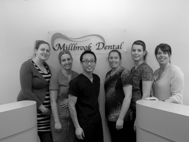 Millbrook Dental staff from left to right, Kari Hardy, Bri De Vos, Dr. Lee, Randi-lee Callacott, Sarah Bissell and Krista Mc Crory. Photo: Karen Graham.