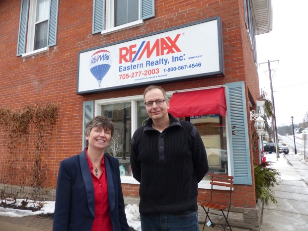 Kathie Lycett welcomes Greg Ret who has joined the Re/Max team. Photo: Karen Graham.