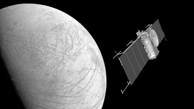 Could life exist in the ocean beneath Europa? On Earth ten-foot-long worms survive near 400º F volcanic towers where there is no light! We won't know until we go. Artist's mage is courtesy NASA/JPL.