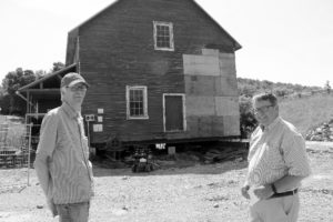 David Hobson (left), one of the volunteer project managers overseeing the Needler's Mill project, with the Otonabee Region Conservation Authority's CAO Dan Marinigh agree on a plan