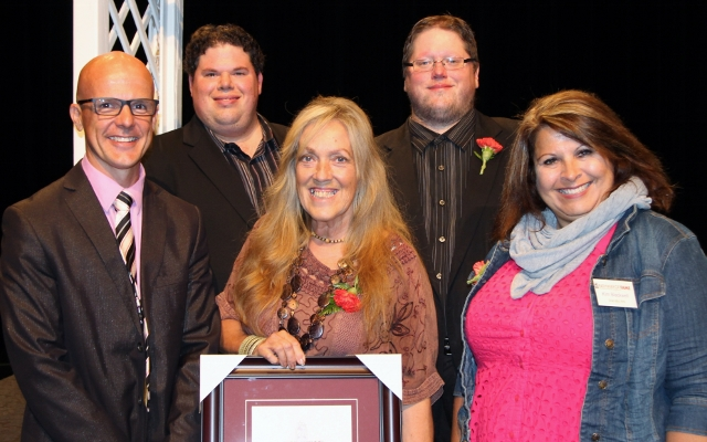Mayor McFadden joined local Pathway to Fame Recipients Mark and Justin Hiscox, 4th Line Theatre's Managing Creative Director Kim Blackwell and accepting for daughter Serena was Barbara Ryder.