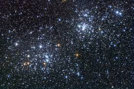 Seen through binoculars or at low power in a telescope, the Double Cluster is nothing short of a treat.  The stars sparkle like gemstones floating on the sea at night.