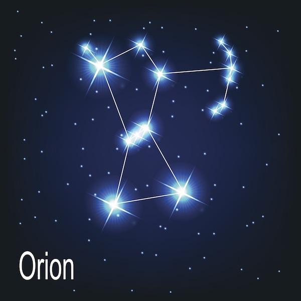 Orion strides the night sky in February