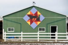 New Spinning Star Block Quilt Welcomes Visitors Entering the Village